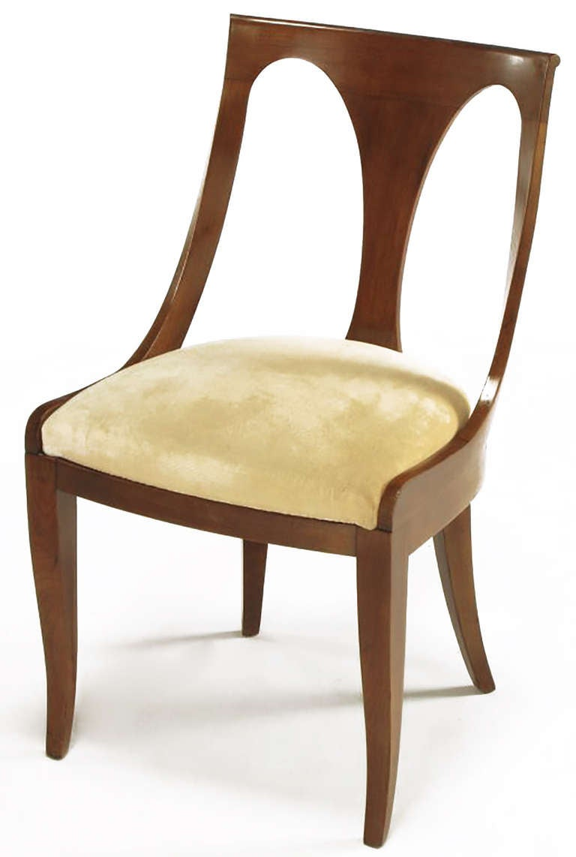 American Four Kindel Walnut Regency Spoonback Dining Chairs For Sale