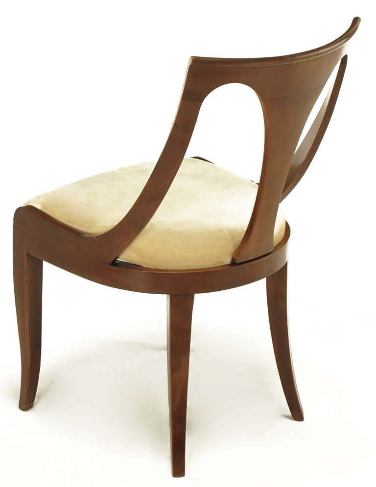 Mid-20th Century Four Kindel Walnut Regency Spoonback Dining Chairs For Sale