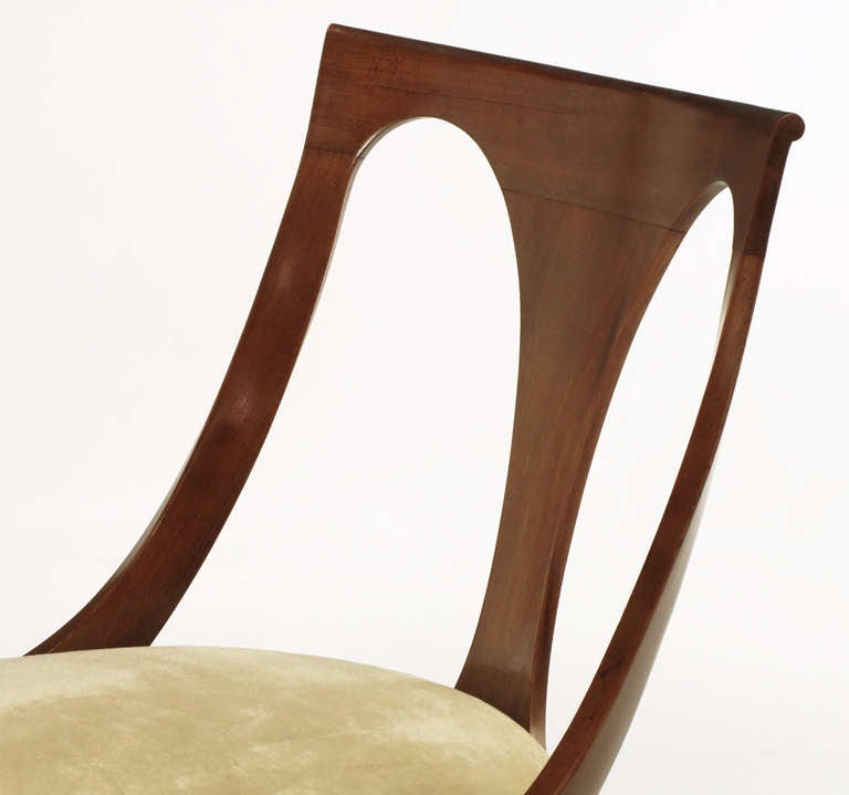 Four Kindel Walnut Regency Spoonback Dining Chairs For Sale 2