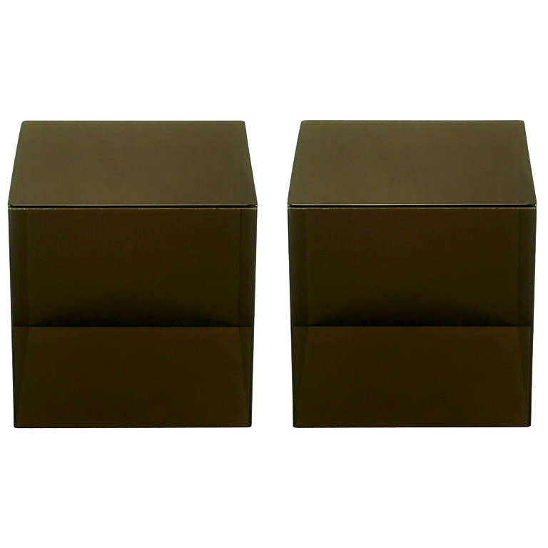 Pair of Smoked Lucite Cube End Tables For Sale