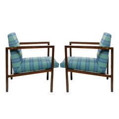 Pair of Edward Wormley Walnut Open-Arm Lounge Chairs