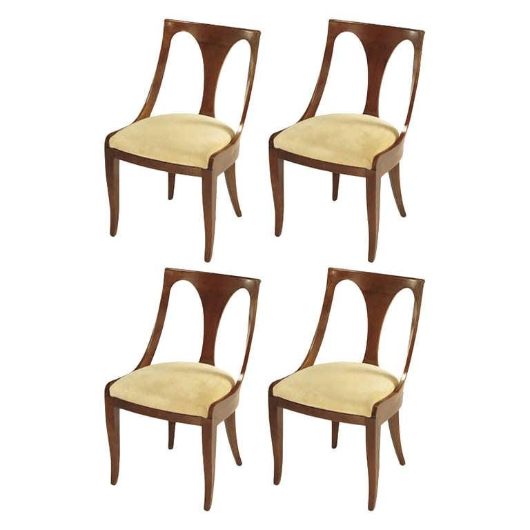 Four Kindel Walnut Regency Spoonback Dining Chairs For Sale
