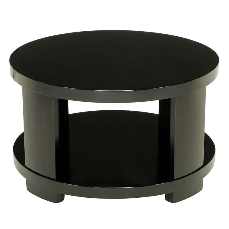 Round Two-Tier Ebonized Wood Coffee Table For Sale