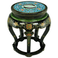 Polychrome Cloisonné and Black Lacquered Side Table