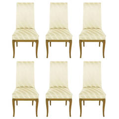 Six Bleached Mahogany and Silk Upholstered Dining Chairs