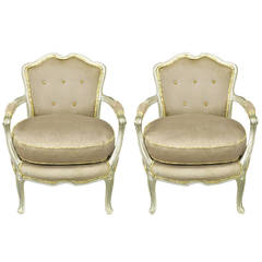 Pair of Silver Lacquer Button Tufted Velvet Louis XV Fauteuils