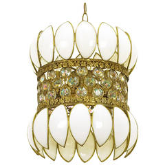Brass Filigree and White Opalescent Glass Pendant Light