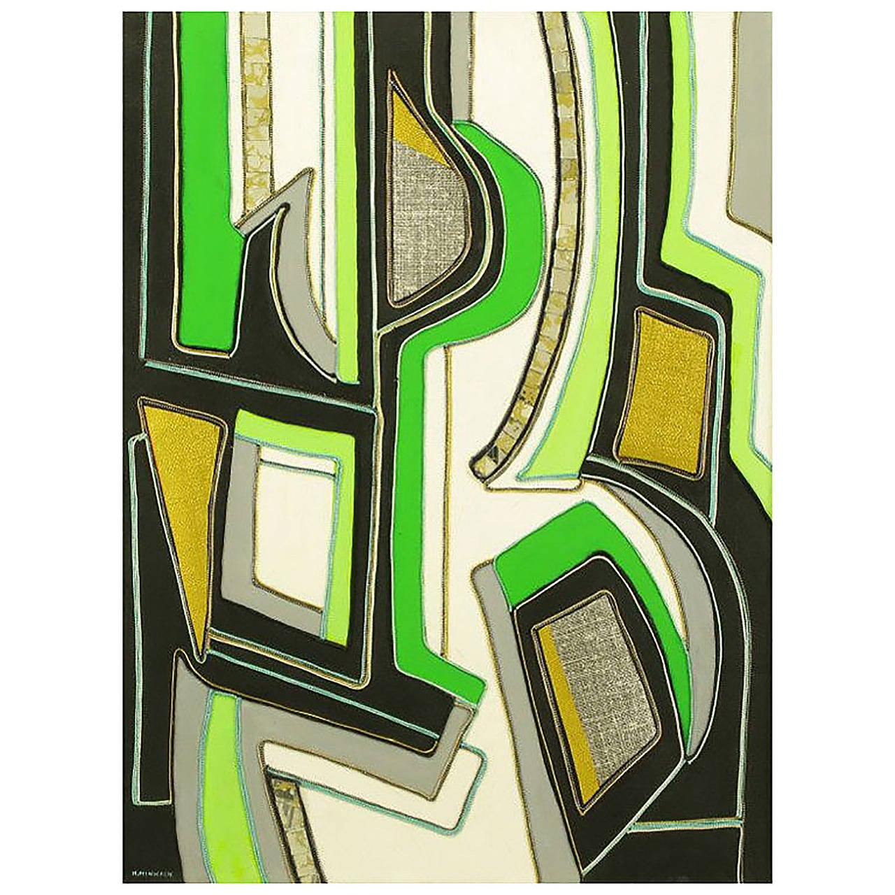 Green Black and Gold Mixed Media Abstract Painting Signed H. Minnick