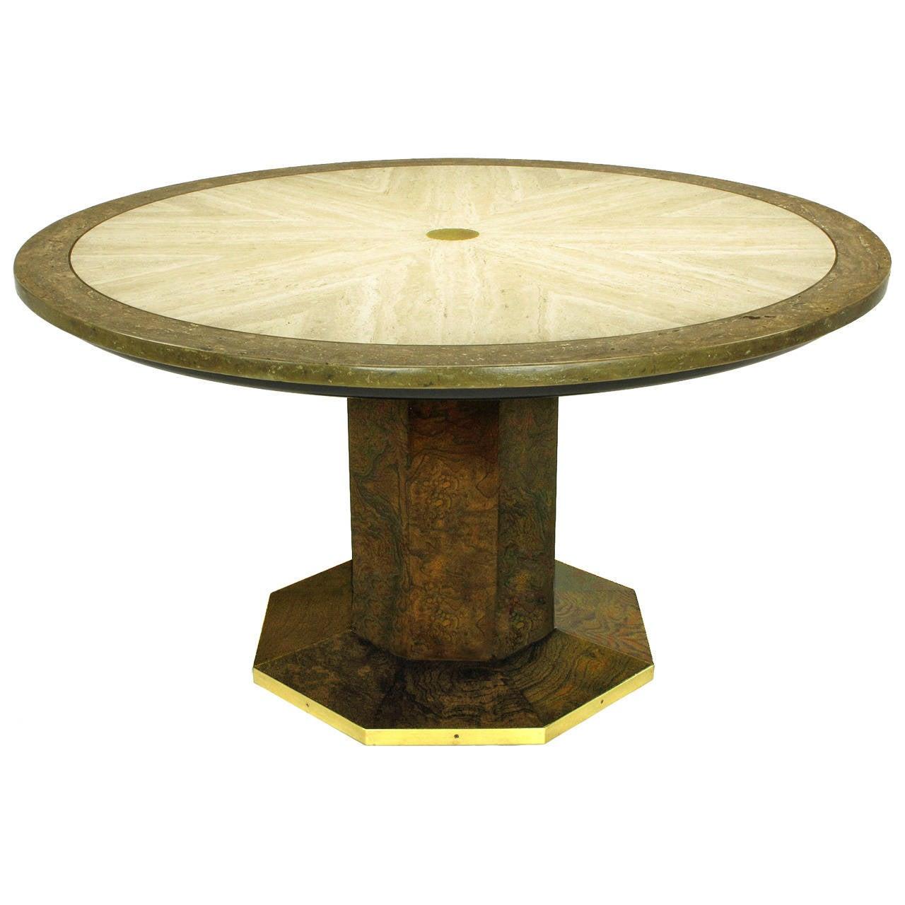 John Widdicomb Burl Walnut and Sunburst Travertine Game Table with Brass Inlay