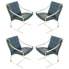 Four Bert England for Brueton Polished Steel & Cadet Blue Leather Lounge Chairs