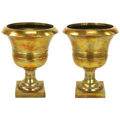 Palatial Pair of Tall Acid Rinsed and Hammered Brass Urns