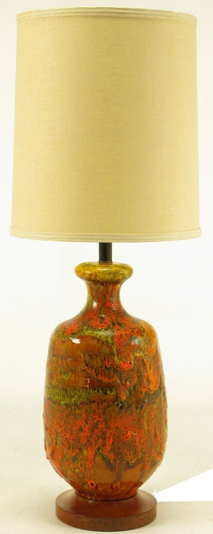 Lava Red With Orange And Yellow Drip Glazed Hand Thrown Ceramic Bodied Table  Lamp. Wood