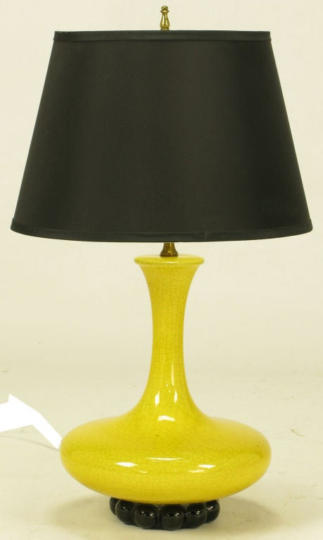 Canary Yellow Craquelure & Black Glazed Ceramic Table Lamp 2