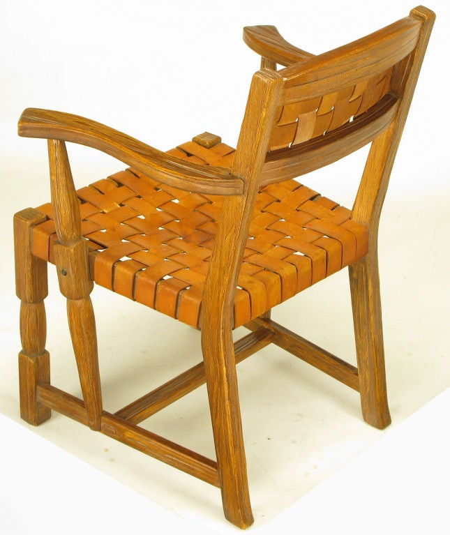 Pair Sculpted White Oak And Woven Leather Arm Chairs At