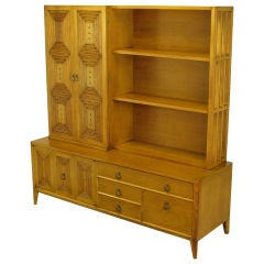 Mount Airy Bleached Walnut Tall Cabinet With Display Shelves