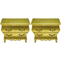 Pair Henredon Gold Toned Silver Leaf Bombe Two-Drawer Commodes