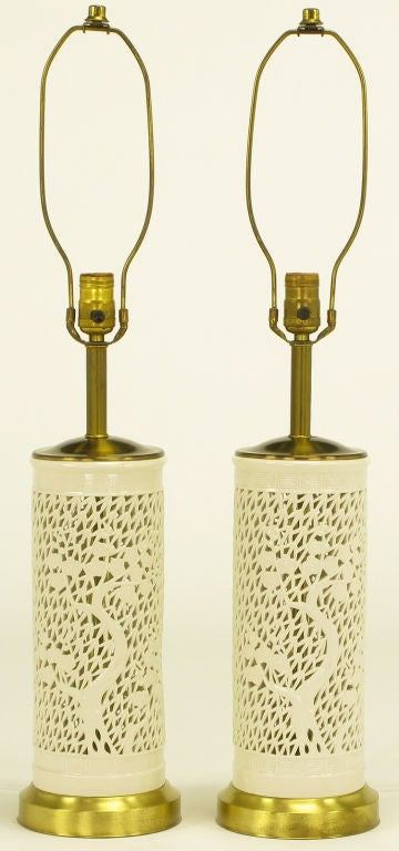 Pair Reticulated Cylindrical Blanc De Chine Porcelain