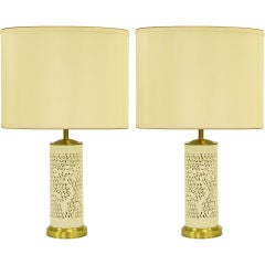 Pair Reticulated Cylindrical Blanc De Chine Porcelain Lamps