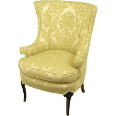 Regency Wingback Chair In Silk & Linen Damask Upholstery