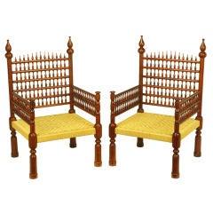 Pair Stately Teak & Rush Moroccan Throne Chairs