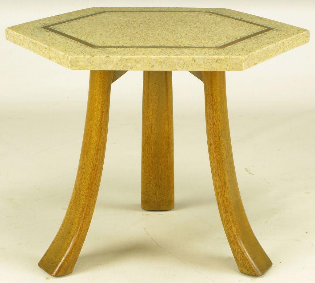 Harvey Probber Marble Top Rectangular Coffee Table W: Harvey Probber Hexagonal Mahogany And Terrazzo Marble Side