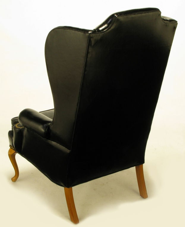 1960s Missoni Wingback Chair At 1stdibs: Pair 1960s Black Leather And Maple Wing Chairs By Hickory