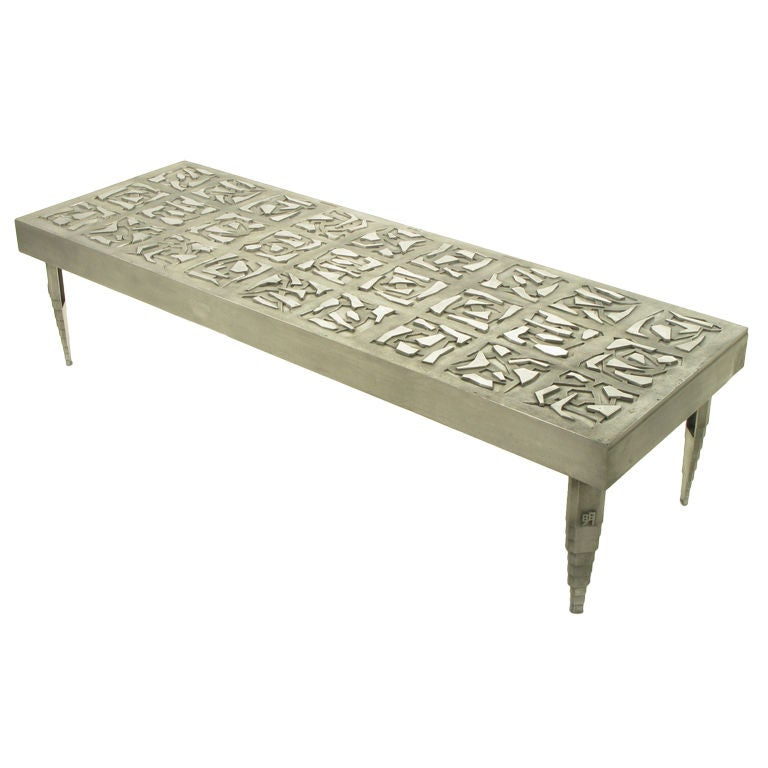 Custom Large Scale Cast Aluminum Coffee Table Signed At 1stdibs