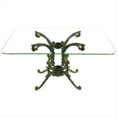 1940s Molla Cast Aluminum Dining Table With Glass Top