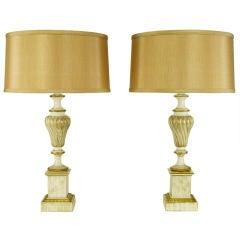 Pair Stiffel Parcel Gilt & White Lacquer Regency Table Lamps