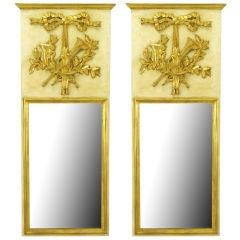 Pair Italian Empire Ivory & Parcel Gilt Trumeaux Mirrors