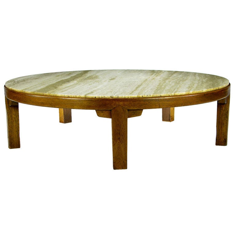 Edward Wormley Round Mahogany And Travertine Coffee Table At 1stdibs