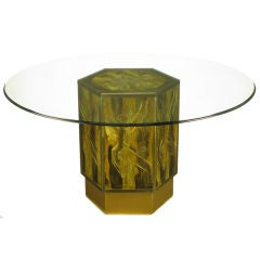 Mastercraft Acid Etched Brass Hexagonal Pedestal Table