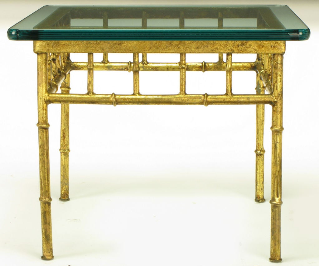 Italian Gold Gilt Iron And Glass Faux Bamboo Metal Square: Pair Glazed Gilt Metal Faux Bamboo End Tables At 1stdibs