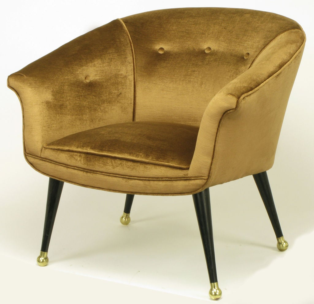 Italian style cocoa silk velvet button tufted lounge chairs at 1stdibs