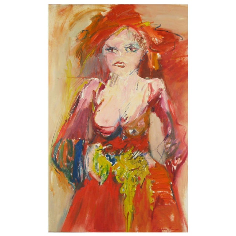 Large Expressionist Painting of Lady in Red by Suzanne Peters For Sale