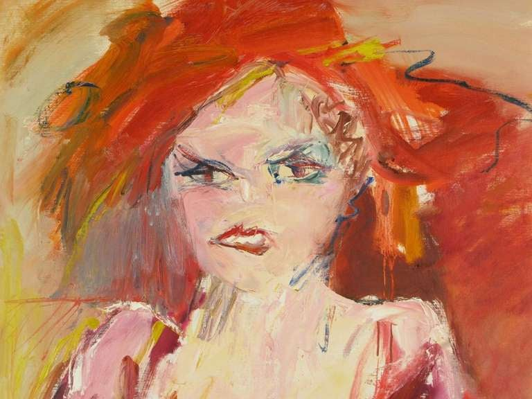 Expressionist oil on canvas of a red dressed lady clutching a yellow and blue wrap and wearing a red hat. Nice gallery style wood frame. Signed by Suzanne Peters.