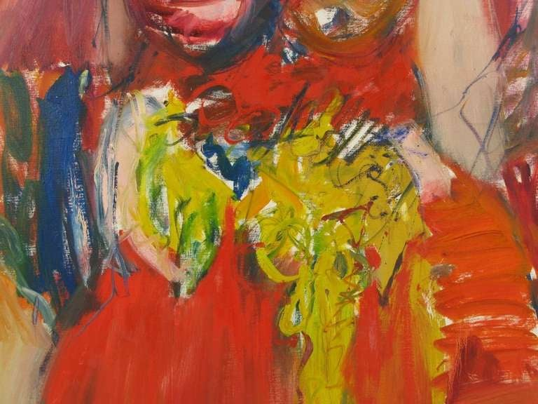 Mid-Century Modern Large Expressionist Painting of Lady in Red by Suzanne Peters For Sale