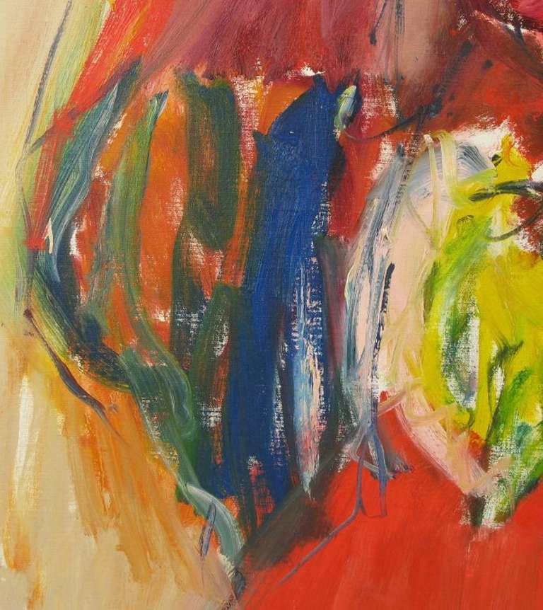 American Large Expressionist Painting of Lady in Red by Suzanne Peters For Sale