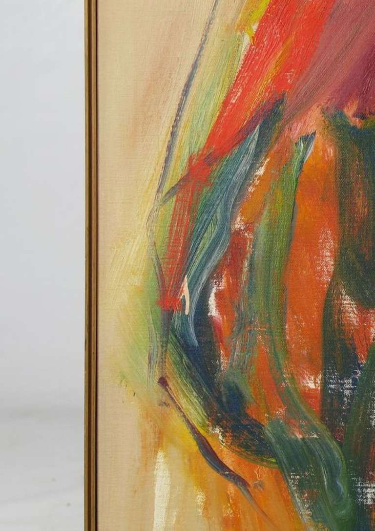 Large Expressionist Painting of Lady in Red by Suzanne Peters In Good Condition For Sale In Chicago, IL