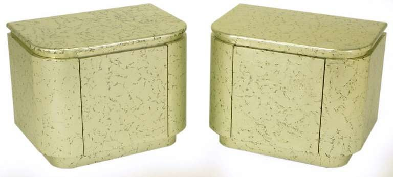 American Pair of Champagne Gilt and Flecked Radius Edge Nightstands For Sale