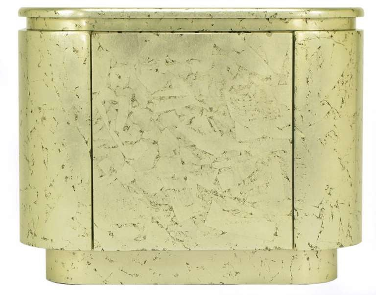 Pair of Champagne Gilt and Flecked Radius Edge Nightstands For Sale 1