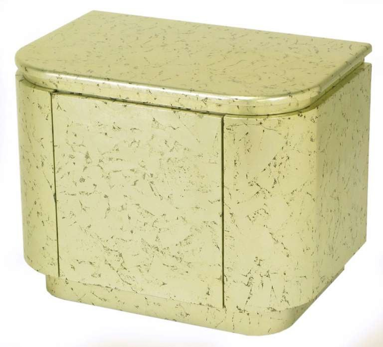 Pair of Champagne Gilt and Flecked Radius Edge Nightstands For Sale 2