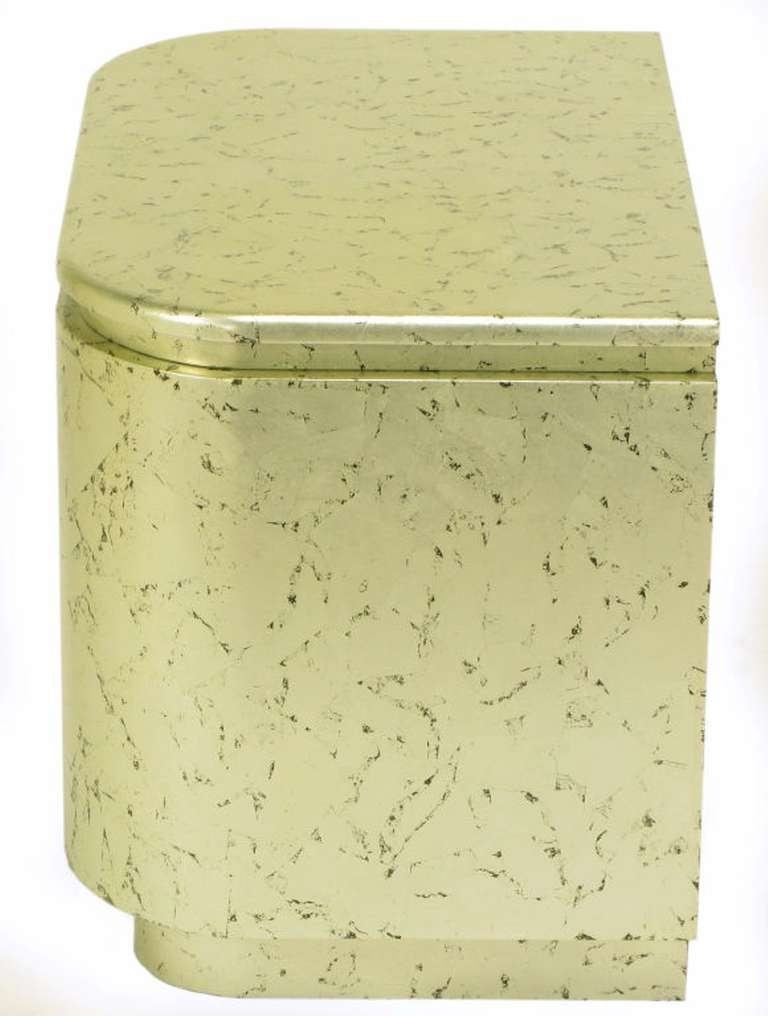 Pair of Champagne Gilt and Flecked Radius Edge Nightstands For Sale 3