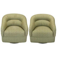 Pair Ward Bennett Barrel Back Swivel Chairs With Geometric Upholstery