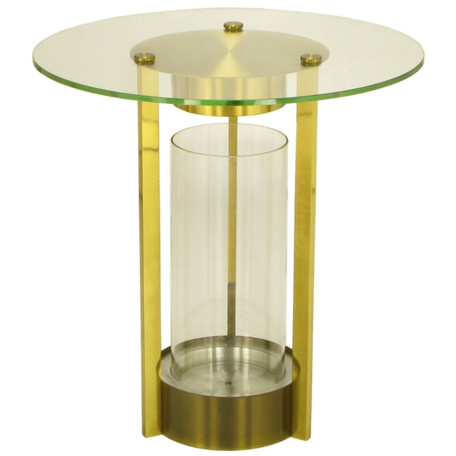 Fantastic Brass And Glass Cylindrical End Table Attributed To Dorothy Thorpe Home Interior And Landscaping Eliaenasavecom