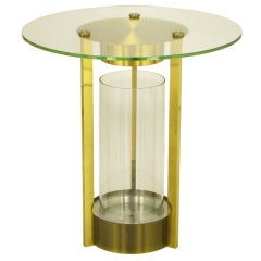 Brass and Glass Cylindrical End Table Attributed to Dorothy Thorpe