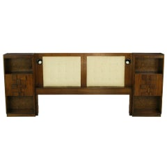 Upholstered King Headboard In Walnut With Block Front Nightstands