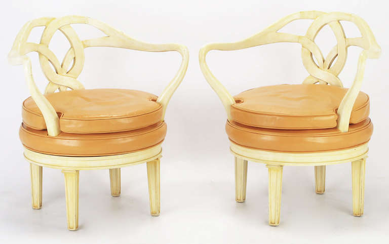 American Pair of Italian Empire Carved Wood and Leather Swivel Chairs For Sale