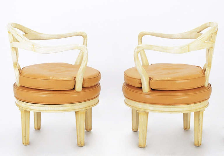 Pair of Italian Empire Carved Wood and Leather Swivel Chairs In Good Condition For Sale In Chicago, IL