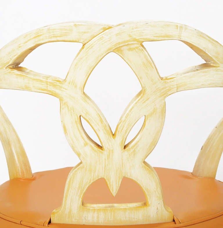 Mid-20th Century Pair of Italian Empire Carved Wood and Leather Swivel Chairs For Sale